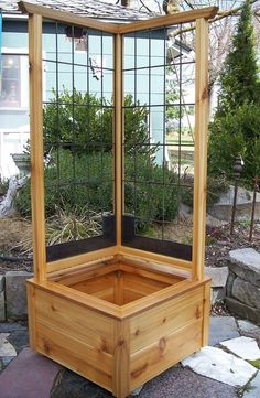 Planter Cedar and Steel Corner Planter Box--love the built-in trellis
