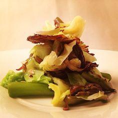 New in Topolo: winter meets spring: local asparagus, Savoy cabbage 2 ways, green garlic mojo, sunchoke crema