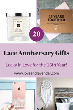 20 Lace Anniversary Gifts – Lucky in Love for the 13th Year Presents for her | | Celebrate this special occasion with thoughtful gifts | Gift ideas and inspiration by Love & Lavender #gifts #gift #anniversarygift Presents For Your Boyfriend, Presents For Her, Gifts For Husband, 13th Anniversary, Anniversary Gifts For Him, Lucky In Love, Lace Print, Inspirational Gifts, Couple Gifts