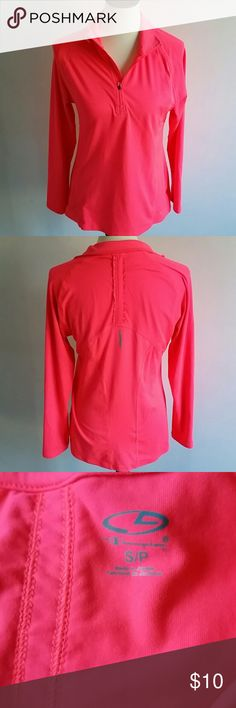 Champion pullover This sweatshirt is neon pink and looks new. The tag says small petite but it is very loose fitting and would fit a regular small or even medium. It measures 19 inches across the chest. Champion Tops Sweatshirts & Hoodies