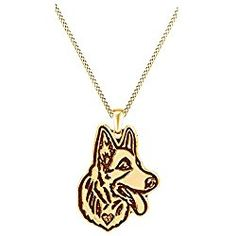 Cute German Shepherd Dog Animal Unique Necklaces & Pendants 14k Gold Over Sterling Silver
