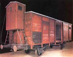 This authentic 15-ton freight car is one of several types that were used to deport Jews. Its cramped interior would have held 80 to 100 people. Deportation trains usually carried between 1,000 and 2,000 people whose crushing weight slowed the speed of travel to about 30 mph, greatly prolonging the ordeal.