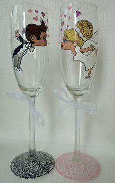 Hand painted Wedding Bridesmaids Wine Goblets by AlenaShop, $41.99