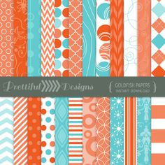 Digital Paper Turquoise and Orange Pattern Paper - CU Ok - Goldfish (816)
