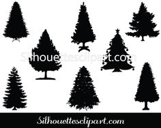Christmas Tree silhouette vector graphics - Silhouette Clip Art