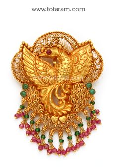 22K Gold 'Peacock' Pendant (Temple Jewellery)