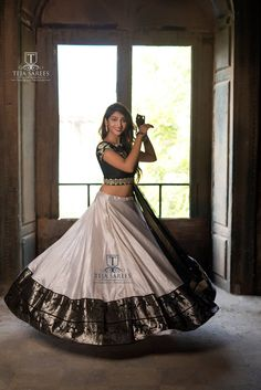 "TEJA SAREES Sampradaya Here is metallic silver and black Banarasi lehanaga from our ""sampradaya"", collection which is t. Lehenga Saree Design, Half Saree Lehenga, Lehnga Dress, Long Gown Dress, Lehenga Designs, Saree Blouse Designs, Anarkali, Banarasi Lehenga, Kids Lehenga"