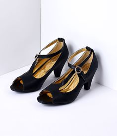 9c996c2395c Retro Style Black Lula Open Toe Heels  48.00 AT vintagedancer.com Flapper  Shoes