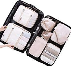 Belsmi 8 Set Packing Cubes Travel Bags - Waterproof Compression Travel Luggage Organizer with Shoes Bag (Beige) Travel Luggage, Travel Bags, Luggage Packing, Travel Packing, Packing Hacks, Travel Outfits, Travel Ideas, Packing List For Cruise, Travel Cubes