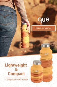 One bottle TWO sizes. que Bottle is the collapsible bottle designed for your active lifestyle
