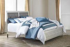 Olivet Silver California King Upholstered Panel Bed