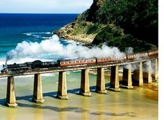 Outeniqua Choo Tjoe - South Africa's only remaining scheduled steam train offers its passengers a unique, picturesque and scenic journey experiencing the Garden Route with spectacular views of the Indian Ocean. Train Route, By Train, Train Tracks, Train Rides, Train Trip, Old Trains, Train Journey, Locomotive, Travel And Leisure