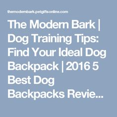 The Modern Bark | Dog Training Tips: Find Your Ideal Dog Backpack | 2016 5 Best Dog Backpacks Reviewed
