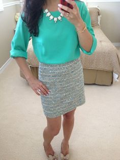 Tweed crystal mini skirt