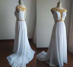 White Evening Dresses, Cap Sleeves Long Chiffon Evening Gowns, Party Dresses, Long Formal Dresses, Long Prom Dresses 2015, Graduation Dress by Angelonlinedress on Etsy
