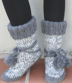 Knitted Slipper Boots FREE Pattern