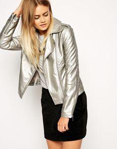Изображение 1 из Байкерская куртка цвета металлик в кожаном стиле ASOS