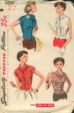 Sewing Blusas Weskit Blouse Pattern Simplicity 4533 Stylish Button Front Sleeveless Vest Blouse Easy To Make Bust 30 or 32 Vintage Sewing Pattern - Dress Making Patterns, Vintage Dress Patterns, Clothing Patterns, Vintage Dresses, Vintage Outfits, Vintage Clothing, Retro Mode, Vintage Mode, 1950s Fashion
