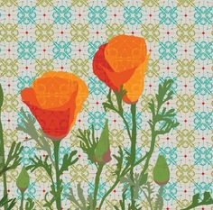 California Poppy Diptych art print by arinfish on Etsy California Poppy Tattoo, Poppies Tattoo, Modern Artwork, Linocut Prints, Flower Photos, Pattern Art, Fine Art Paper, Printable Art, Photo Art