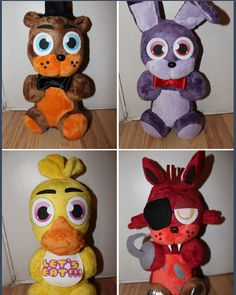 five nights at freddy's plushies, they're so cute <3, and probably deadly