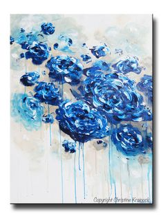 """Print / Canvas Prints of """"True Blue"""" original #Art Abstract Painting. Navy Blue Floral Painting, Contemporary Botanical Flowers LARGE Wall Art Modern Coastal Home Decor. Blue White Taupe Teal Shabby Chic Large Abstract Blue Floral Painting peony flowers roses modern textured brush & palette knife, coastal, shabby chic, classic, navy blue white grey taupe teal wall decor. From sold mixed media acrylic painting on gallery wrapped canvas. Artist, Christine Krainock - Contemporary Art by…"""