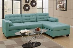 "Reversible Mid Century Style 2pc sectional Chaise can be on left or right side Firm foam cushions with innersprings 100% polyester fabric Total Size: 102""L x 66"