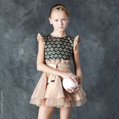 Suzanne Ermann - Gold pink taffeta and brocade party dress