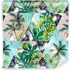 Vinyltapete Tropische Blätter und Palmen des Aquarells im nahtlosen Muster der geometrischen Formen
