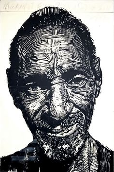 """Michael 59"" print by Neil Shigley, (1955-) http://neilshigley.com/ Tags: Linocut, Cut, Print, Linoleum, Lino, Carving, Block, Woodcut, Helen Elstone, Profile, Portrait, Face, Man, San Diego, Large-Scale Printing, The Invisible People Series.   Love this but I think the fine details makes it a little too chaotic."