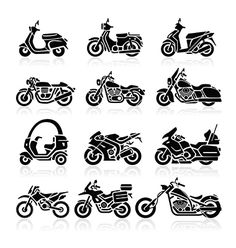 Find Motorcycle Icons Set Vector Illustration stock images in HD and millions of other royalty-free stock photos, illustrations and vectors in the Shutterstock collection. Thousands of new, high-quality pictures added every day. Motorcycle Icon, Motorcycle Baby, Motorcycle Tattoos, Motorcycle Types, Baby Bike, Different Types Of Motorcycles, Small Motorcycles, Harley Davidson Tattoos, Motorbike Design