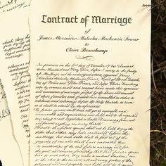 An unexpected arrangement. The wedding contract between Jamie & Claire.