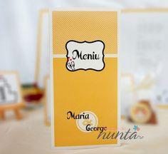 Meniu Orange Retro Love, un model retro ce va da un plus de culoare meselor de nunta. Orange, Retro, Drinks, Model, Drinking, Beverages, Scale Model, Drink