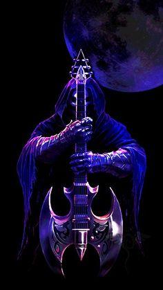 All animated gifs Dark Artwork, Skull Artwork, Music Artwork, Skull Wallpaper, Music Wallpaper, Dark Fantasy Art, Art Sombre, Grim Reaper Art, Guitar Wall Art
