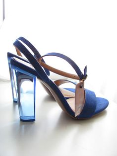 ZARA STRADIVARIUS METHACRYLATE PLEXI GLASS PERSPEX HEEL BLUE NEW