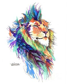 "Watercolor ""Pride"" Lion print of Painting by Arleana Holtzmann #tatoo #art #animal #colorful #rainbow #cat #watercolour"