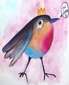 """Nearly gave up on this little Robin #quirkybird. But he told me """"hey, I matter, give me another chance!"""" And so I worked on him a bit more and now I love l❤️ve him super hard! :) and he reminded me how much we all matter including me, including you. ❤️ #mixedmediaart #mixedmedia #willowing #willowingarts #artjournal #artistsofinstagram #illustration"""