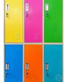Colourful lockers.  #locker #lockerroom #lockers #lockerdecor #ShotoniPhone #furniture #furnituredesign #metalfurniture #dutourdumonde #vibrantcolor #vivid #doors #patterndesign #colourfulart #stockphoto