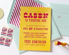 circus birthday invitation available soon / Little Frills paper + goods