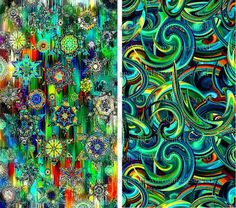 Artist Made Quilting Fabric By The Yard 2 Large Panels Green Stars Sky Celestial Kaleidoscope