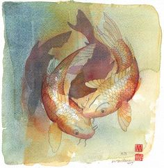 Watercolor Artists, Watercolour Painting, Open Gallery, Ceramic Figures, Small Paintings, Altered Books, Koi, Printmaking, Fine Art Prints