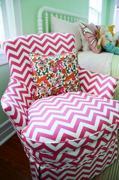 Pelham collaboration / Grandmother to Granddaughter / A cheerful hot pink and white chevron fabric acquired in Philadelphia's South 4th Street fabric row transforms this heirloom and bring happiness   to a family in a new phase of life.