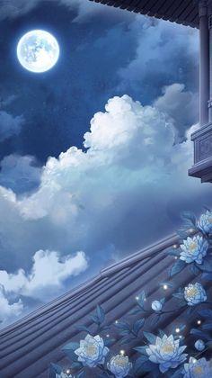 22 Ideas Wallpaper Backgrounds Desktop Moon For 2019 Blue Aesthetic Pastel, Sky Aesthetic, Aesthetic Pastel Wallpaper, Aesthetic Backgrounds, Aesthetic Wallpapers, Anime Backgrounds Wallpapers, Anime Scenery Wallpaper, Pretty Wallpapers, Animes Wallpapers