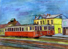 'Diesel railcar in station' by Lorenzo-CZ Canvas Prints, Framed Prints, Art Prints, Art Boards, Decorative Accessories, Colored Pencils, Travel Mug, Diesel, Cities