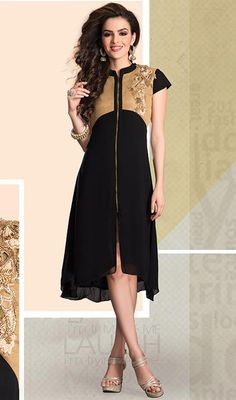 You're bound to make a effective fashion statement with this beige and black shade georgette tunic. This desirable attire is displaying some great embroidery done with bead, resham and sequins work. #LatestStylishZipperLockKurti