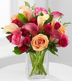 Colors of Love Roses & Calla Lilly Bouquet - Peach Roses, Pink Bi-Color Roses, Plum Mini Calla Lilies, Peach Mini Calla Lilies, Hot Pink Spray Roses & Lush Greens  *Phyllis (5)*