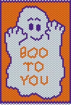 BEADED BANNERS PAGE 2 Pony Bead Patterns, Peyote Stitch Patterns, Beading Patterns Free, Pony Bead Crafts, Halloween Beads, Beaded Banners, Diy Perler Beads, Halloween Banner, Dishcloth