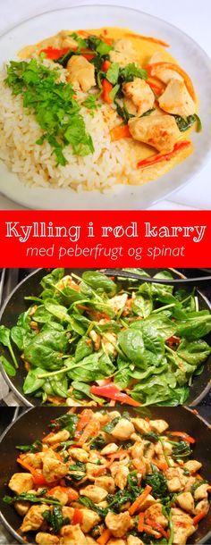 Kylling i rød karry Thai Recipes, Healthy Recipes, Danish Food, Breakfast Snacks, One Pot Meals, I Foods, Karry, Food Inspiration, Healthy Living
