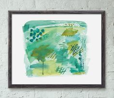 """Verdigris Abstract Art Print. """"Verdigris,"""" by Erika Firm This abstract painting was inspired by live oak trees, Spanish moss, gators and the natural beauty of the island on which I live: Johns Island. It's also inspired by my very favorite color: green. This unframed art print is 14in x 11in and is printed in the USA on archival 19pt cotton paper using archival inks. This listing is for a print -- not the original painting. Does NOT include frame. All prints are shipped with a cardboard..."""