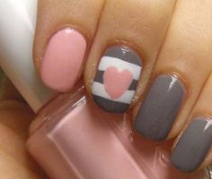 Coral Grey Valentines Nail Art Design