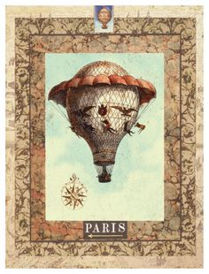old hot air balloon | found a plate in a museum which had old hot air balloon prints on it ...